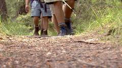 Hikers walk towards camera. - stock footage