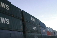 Stack of containers - stock footage