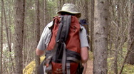 Hiking in the woods Stock Footage
