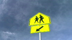 School Crossing Sign Stock Footage