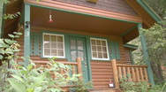 Front Door of cabin, angled. Stock Footage