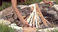 Close up of a fire being lit. Stock Footage