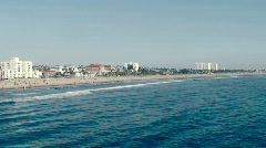 Waves Rolling in to Santa Monica Beach - stock footage