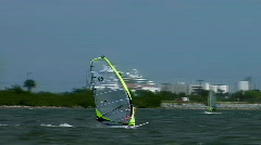 Windsurfing on windy day Stock Footage