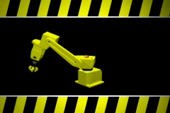 Robotic construction arm with caution NTSC Loopable Stock Footage