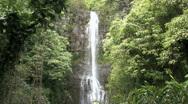 Waterfall Wailue near Hana Maui rainforest HD Stock Footage