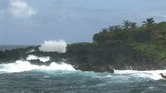 Lava rocks in rough ocean surf HD Stock Footage