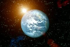 Solar Cosmos with sun flare. NTSC.  Stock Footage