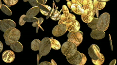 Gold coins falling on black HD Stock Footage