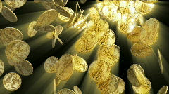 Gold coins falling with shine HD Stock Footage