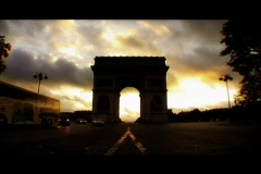 Arc de Triomphe at sunrise Paris, France Stock Footage