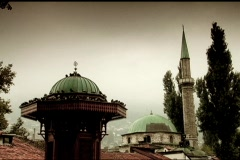 mosque with minarets in Bosnia & Herzegovina - stock footage