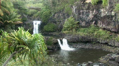 Maui Seven Pools falls bridge pools Hawaii HD Stock Footage