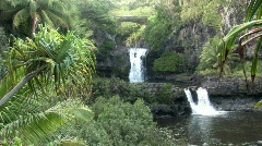 Maui Hawaii Seven Pools falls bridge close HD Stock Footage