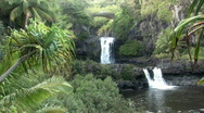 Stock Video Footage of Maui Hawaii Seven Pools falls bridge close HD