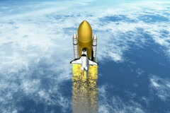 Shuttle with booster leaving earth NTSC Stock Footage