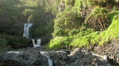 Maui Seven Pools falls bridge mist Hawaii waterfall HD Stock Footage