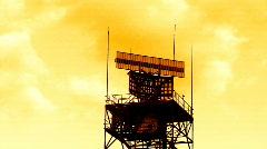 Radar rotating against yellow sky Stock Footage