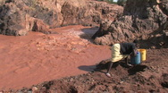 Girl Collects Water  Stock Footage