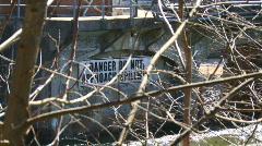 Stevenson Dam Warning Sign Stock Footage