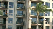 Stock Video Footage of Hawaiian resort close balconies pan left M HD