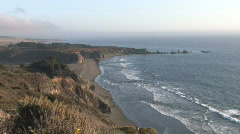 Wide long shot of the of the California coast line Stock Footage