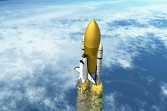 Shuttle with boosters seperating NTSC Stock Footage