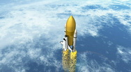 Stock Video Footage of Shuttle with seperating booster HD 1080i