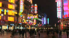 Nanjing Road in Shanghai China at Night, Time Lapse Stock Footage