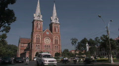 Notre Dame Cathedral in Ho Chi Minh City, Vietnam Stock Footage