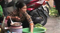 Sidewalk vendor of seafood, in Hanoi Stock Footage