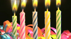 Birthday candles on a Birthday Cake Burn Down Fast, time lapse Stock Footage