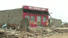 Business Building burned down in the Post Election violence of 2008 in Kenya Stock Footage