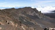 Maui Haleakala Volcano crater Hawaii pan close M HD Stock Footage