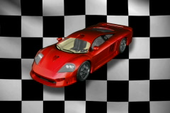 Red sports car with checkered background NTSC Stock Footage