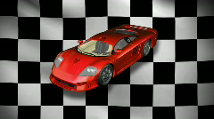 Red sports car with flag HD 1080i Stock Footage