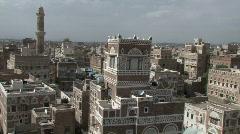 Pan of old city of Sanaa - stock footage