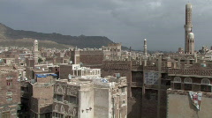 Pan of Old City from rooftop - stock footage