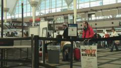 Airport security screens travelers Stock Footage