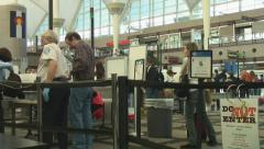 Airport security screening lines - stock footage