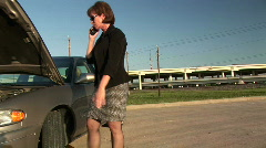 Woman broke down 2 Stock Footage