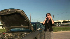 Woman broke down 1 Stock Footage
