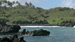 Maui Hana volcanic black sand beach HD Stock Footage