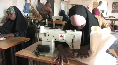 Yemen: Refugees from Samalia lern sewing for income Stock Footage