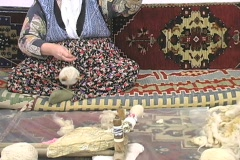 Old fashion way to spin wool Stock Footage