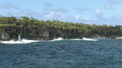 Maui Hana surf volcanic rock ocean water vacation Hawaii HD Stock Footage