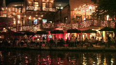 San Antonio riverwalk boat pass dinning night M HD Stock Footage