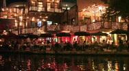 San Antonio riverwalk boat pass dinning night M HD Stock Footage
