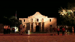 Alamo at night tourists M HD Stock Footage