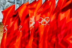 Olympic Flags Waving Stock Footage